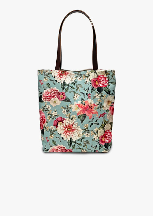Tote bag with floral and vintage design