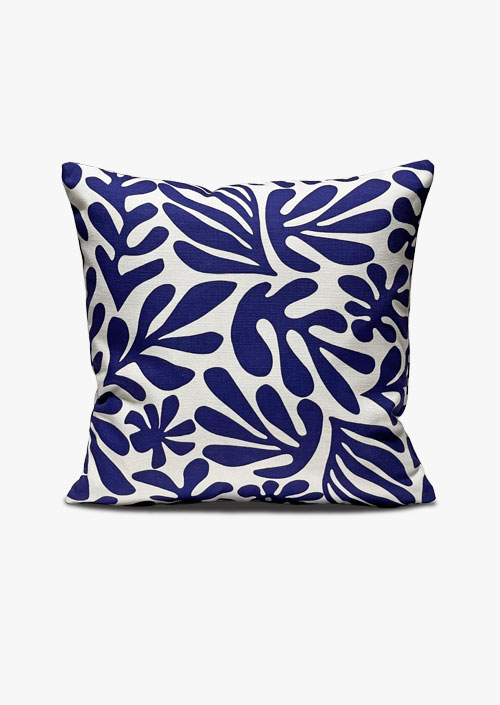 Cushion cover, 100% cotton fabric, blue and white design