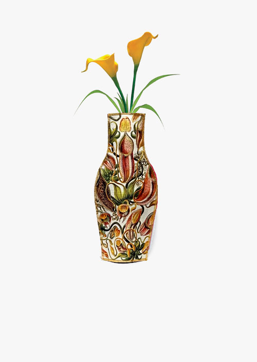 Decorative cotton fabric vase, design inspired by Ernst Haeckel engravings