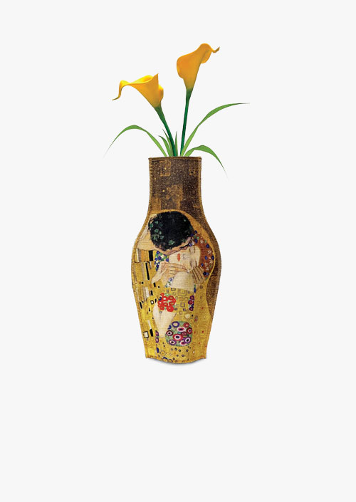 Decorative fabric vase inspired by the work The Kiss by Gustav Klimt