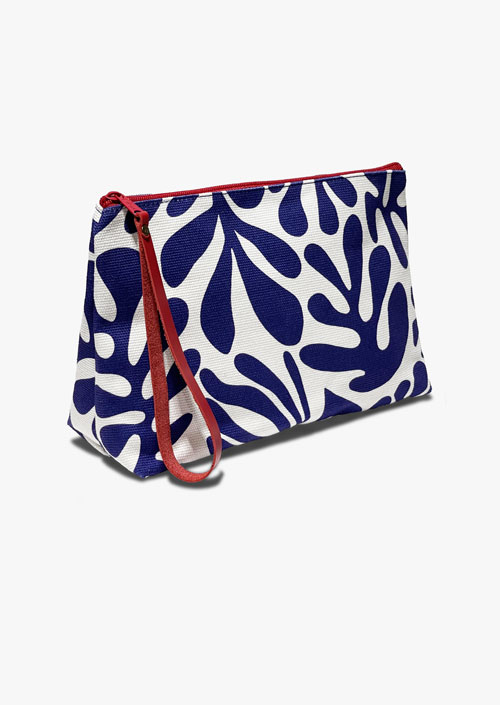 Clutch type pouch, in blue and white with red zip and pull handle