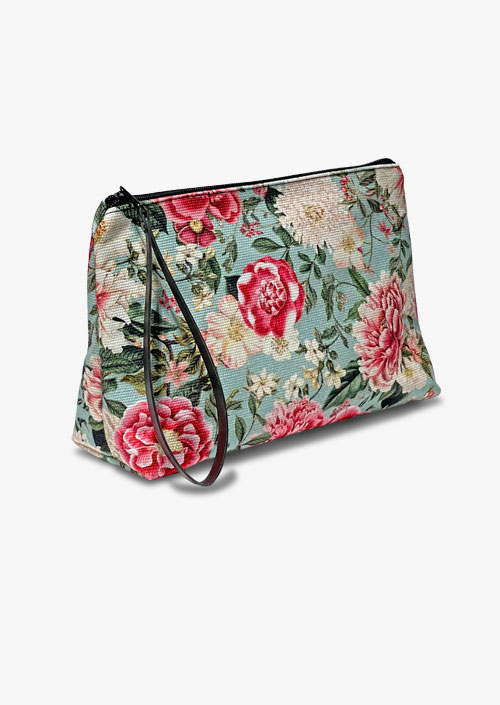 Cotton pouch, vintage floral design, inspired by the work of Laura Ashley